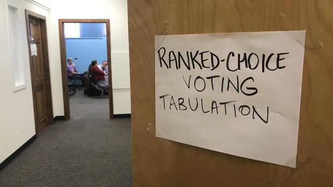 Tallying for the ranked-choice primary voting was done in a special office a mile from Maine's State House in Augusta during the 2018 mid-term election.