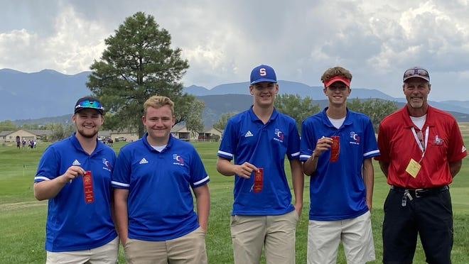 The Swallows Charter Academy boys golf team from left to right: Ben Compton; Cody Talbert; Keaton Murphy, Colby Roberts; and coach Tom Gallery. SCA finished third at the Class 3A Region 1 tournament and will send Compton, Murphy and Roberts to state.