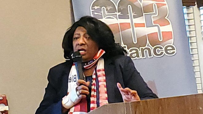Author Barbara from Harlem speaks at the Best Western of Hampton on Sunday about her choice to become a Republican, invited by the 603 Alliance and Seacoast Republican Women.