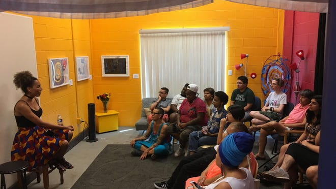 Allgo, which is celebrating its 35th anniversary this month, supports arts programming and other services for LGBTQ people of color in Austin and beyond. Here, community members gather for the Trans Stellar Visions event, which was part of Allgo's cultural arts artist and community dialogues series.