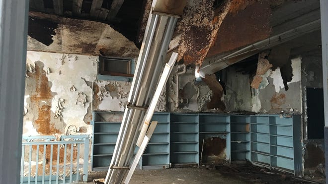 The decaying interior of the former Silvia School.