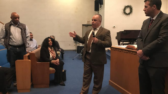 Brockton Police Chief Emmanuel Gomes speaks to the black community during a meeting held by the Brockton Area Branch NAACP at Messiah Baptist Church on Feb. 24, 2020.