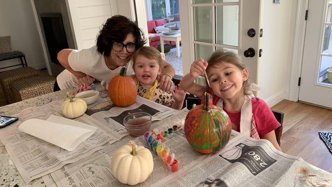 Jill Dumont, of Westport, with granddaughters Ameila, left, and Norah last fall. Dumont, a very involved grandmother, said not being able to see her grandchildren much due to the pandemic has been very difficult.
