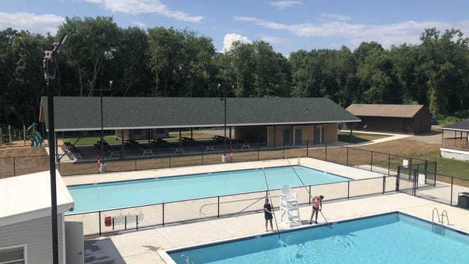 A view of Camp Welch's two pools and its new pavilion.