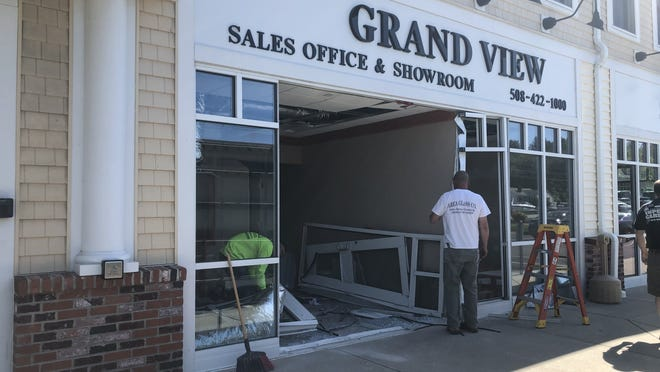 A driver crashed into the Grand View sales office and showroom Tuesday afternoon at 12 Uxbridge Road (Rte. 16) in Mendon. No injuries were reported.