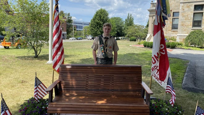 Weymouth Eagle Scout Aiden O'Sullivan built and installed two new benches at Fogg Library for a project July 26, 2020