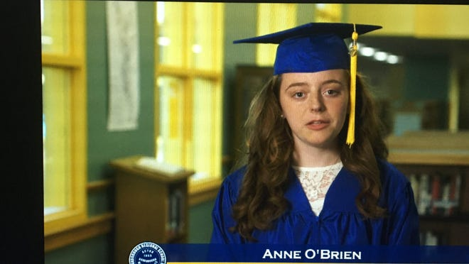 Anne O'Brien addresses her classmates during the ABRHS virtual graduation on June 12.