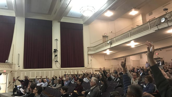 Town Meeting in fall 2017, before the days of widespread virtual meetings.