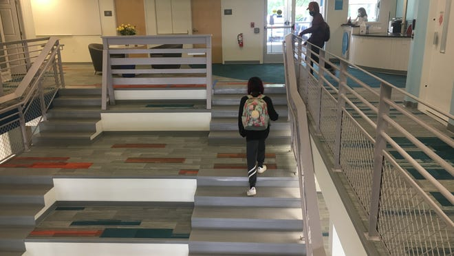 The expansion at Map Academy includes the creation of a staircase that can double as a meeting space.