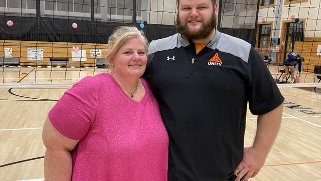 Carolyn Finn is head coach of the Plymouth South volleyball team and her son, John Turner, coaches Pembroke High.