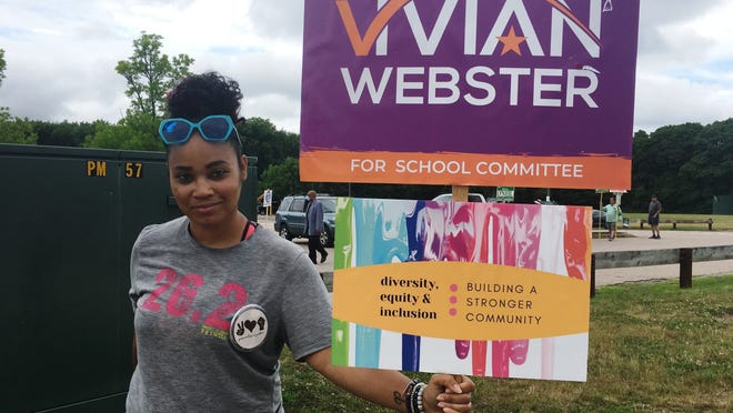 The Mansfield Democratic Town Committee met last week and discussed an alleged racial comment made by one of its members, Jackie Curtis, at the Mansfield polls on June 30. The comment referred to someone holding a sign for Vivian Webster, show above, a candidate for Mansfield School Committee.