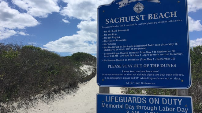 A sign welcomes visitors to Sachuest Beach.