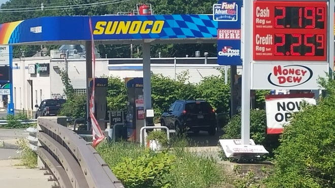 A gallon of regular unleaded gasoline was selling for $2.19 Monday at the Sunoco station on Main Street (Rte. 62) in Hudson.