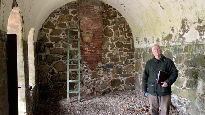 Historical architect Frederic C. Detwiller, here inside Fort Sewall's  officers' quarters before the 2020 preservation work began,  will research and write an updated report about the history of Fort Sewall, expanding on his earlier 1976 report .