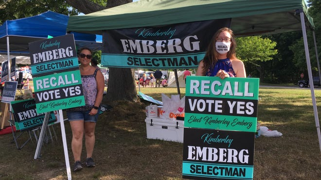 Kimberley Emberg, right, was elected to the Board of Selectmen at the polls Saturday in the recall election.