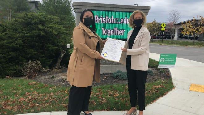 State Rep. Carole Fiola, right, recently nominated Bristol Community College's Livia Neubert as a 2020 Massachusetts Latinx Trailblazer for the 6th Bristol District.