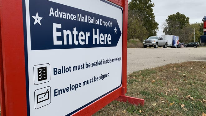 A sign encourages voters to use Shawnee County's ballot drop box at the Rossville Community Swimming Pool. Monday was the first day for in-person advance voting in the county.