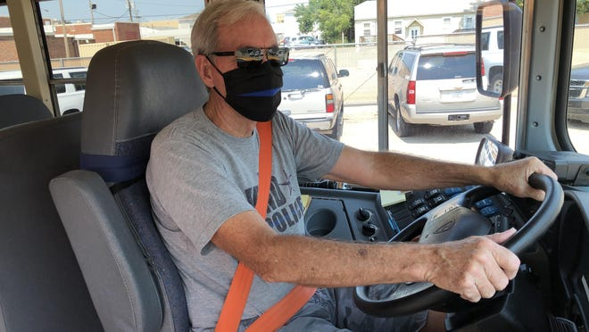 USD 489 bus driver Dan Leis took bus No. 339 out for a dry-run on his Munjor route Friday as the district prepares to transport about 250 school children on its 25 buses this week.