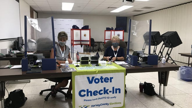 Voter check in, and polling stations in general, look a little different for 2020 elections, with plastic barriers to protect poll workers and the public, masks worn by workers and small changes for voters.