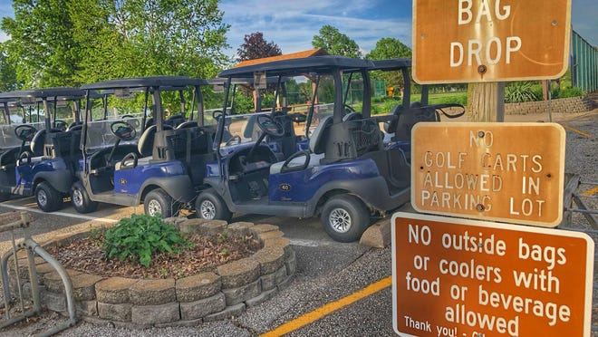 Golf carts neatly lined up at Bunker Links Golf Course in Galesburg, as seen last month.