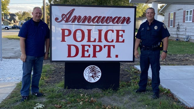 Annawan Mayor Tim Wise, left, and Police Chief Doug Elliott are shown in front of the new location of the Annawan Police Department. Photo by Claudia Loucks