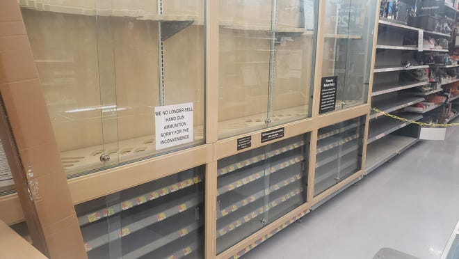 "Gun display cases and shelves were empty at the Kewanee Walmart Store Friday following a decision by the retailer to remove the items from the display cases over fears of ""civil unrest"" following the Tuesday election. The decision was reversed in just a few days and by the weekend, the items were returned to the floor."