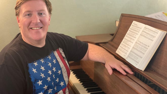 Shawn Degenhart's daily hymn is recorded at this piano in his Washington home.