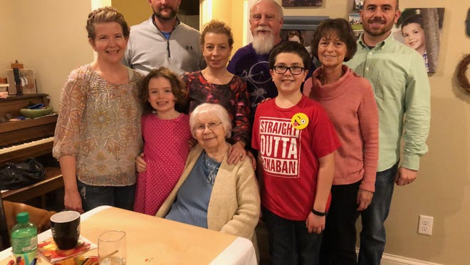 A recent family get-together with Bob Barrick's mother, Alma Wilson of Hopedale, seated, and (clockwise) granddaughter Lainy Barrick, daughter-in-law Mary Barrick, son-in-law JT Lau, daughter Kara Lau,  Bob Barrick, son Chris, wife Paula Barrick and grandson Ben Barrick.