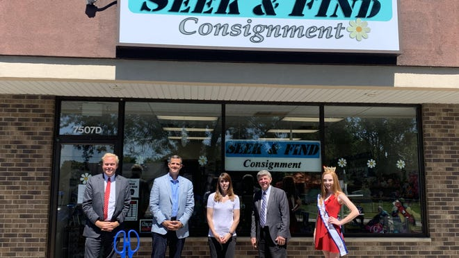 Craig Carlson, president of The Parks Chamber of Commerce, James Richter II, acting village administrator for Machesney Park, Chris Apgar, Seek & Find Consignment owner and the 2020 Young at Heart Queen Madison Hawn attend the ribbon-cutting ceremony for Seek & Find Consignment, located 7507 N. Second St., Machensey Park.