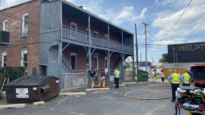 A woman was killed Sunday in an apartment fire in the 600 block of Market Street. [KEN DECOSTER/ROCKFORD REGISTER STAR}