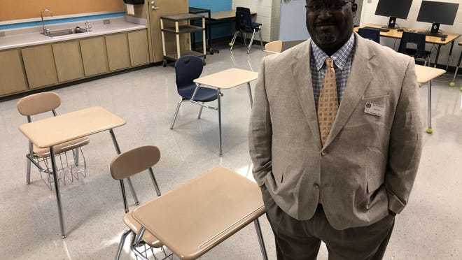 Columbia County Alternative School Principal Joe Lott stands in one of the school's equipped but empty classrooms in the former Grovetown Elementary. Perhaps for the first time ever, the school is starting the year empty because of COVID-19 circumstances and a resulting drop in student discipline cases.