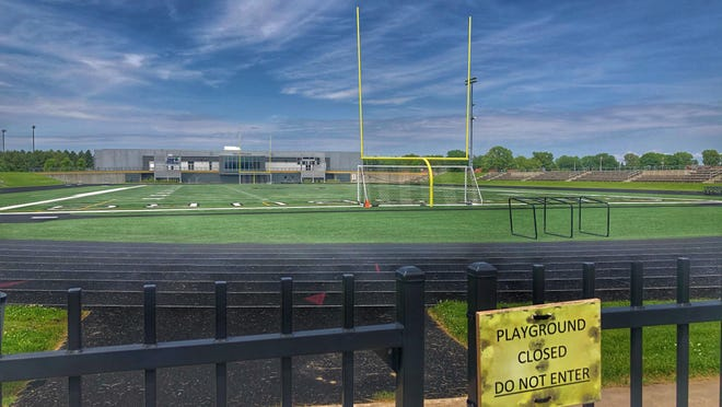 """The gates at Galesburg High School's C.C. Van Dyke Field will remain secured tight with chains and padlocks, as the Illinois Department of Public Health has not approved the Illinois High School Association's """"Return to Play"""" plan yet."""
