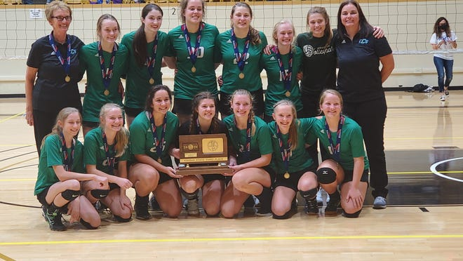 The Hutchinson-Central Christian volleyball team placed third at the Class 1A Division II State Tournament on Saturday in Emporia.