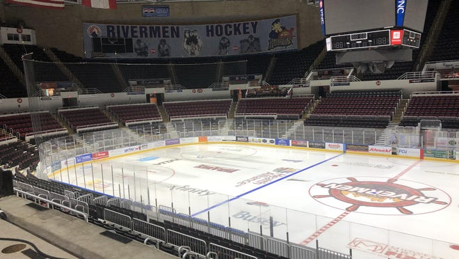 The ice in the entire zone (to the left of the blueline) shows issues from a breakdown of the ice making plant after a Peoria Rivermen game in the 2019-20 SPHL season.
