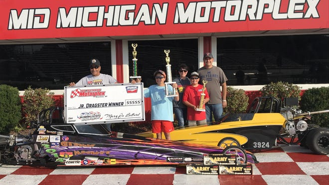 Joe and Tiffany Novak of Monroe spend a lot of weekends drag racing with Joe's father, Joe Nowak Sr. of Carleton, and their two sons -- Peyton, 12, and Parker 10.