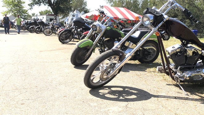 A line of motorcycles stood Saturday morning outside the vendors' area at the 45th annual Abate of Kansas National Labor Day Rally at Lake Perry.