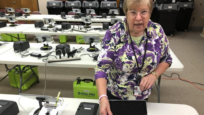 Ellis County Clerk Donna Maskus on Friday explained that each of the county's nine polling locations on Election Day -- Tuesday, Aug. 4 -- will be outfitted with one black trash can-looking DS200 ballot scanner and two Poll Pad electronic tablets for judges to scan driver's licenses and verify voters' names and addresses.
