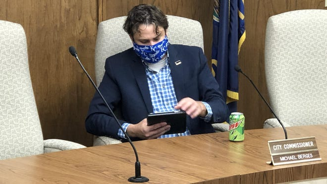 City Commisisoner Michael Berges at Thursday's Hays City Commission meeting asked residents to wear masks in public to protect others from the virus.