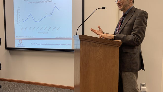 Shawnee County health officer Gianfranco Pezzino presents the latest county COVID-19 statistics Thursday before the Shawnee County Board of Health, which consists of the three Shawnee County commissioners.