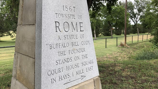 A stone monument built by Hays sculptor Pete Felten marks the general spot on West 12th Street of the historic Rome town site.