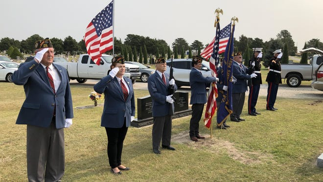 Above, some of the Hays V.F.W. Post 9076 Honor Guard who were part of the veteran detail on hand Saturday morning for the graveside service at St. Joseph Cemetery of veteran LeRoy L. Herrman.