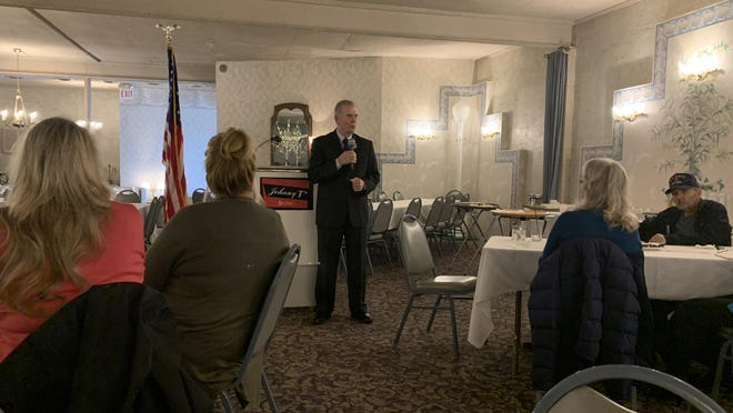 Rep. Tim Walberg speaks  Thursday to the Hillsdale County Republican Women's group.