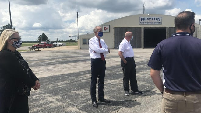 U.S. Sen. Jerry Moran, R-Kan., visits the Newton City/County Airport on Friday afternoon.