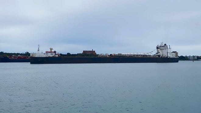 The H. Lee White made its way to the Soo Locks on the gloomy morning of Wednesday, Sept. 9, while on a voyage to the port of Duluth-Superior.