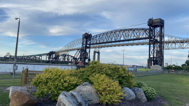 The International Bridge between the United States and Canada, from the Michigan side in Sault Ste. Marie.