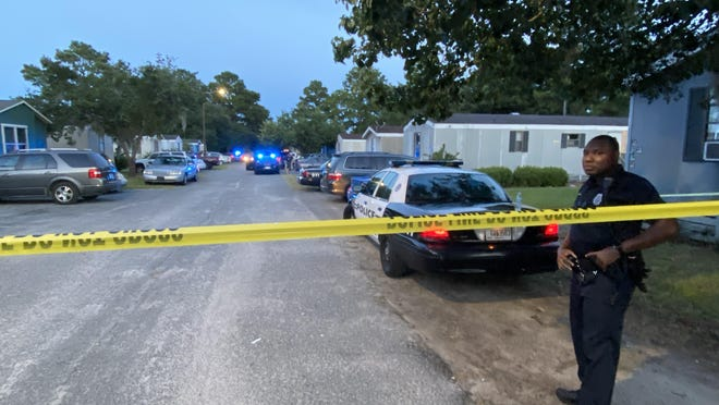 A Hinesville Police Department officer is on the scene Wednesday night of a fatal shooting of a teenager at a mobile home park.