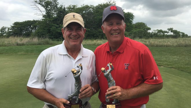 Patrick Anderson, left, and Mike Gibson claimed their third TGA City Champions Two-Man championship on Tuesday at Firekeeper Golf Course. The two won by two shots, shooting a two-day 133 in the scramble-format tourney.