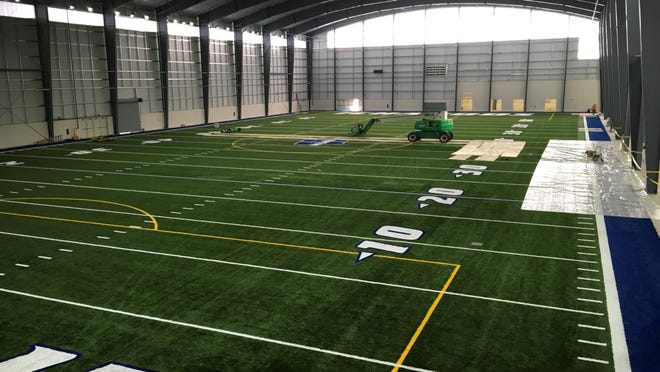 The new turf field in Washburn's indoor athletic facility includes space for WU's football, softball, baseball and soccer teams to work out.