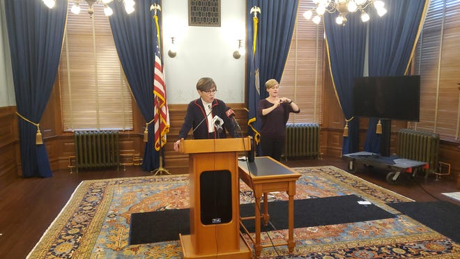 Gov. Laura Kelly addresses the media at a Statehouse news conference on Monday.