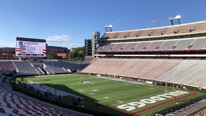 Sanford Stadium less than 3 hours before Georgia-Auburn on Saturday Oct. 3, 2020 (Marc Weiszer/Staff).